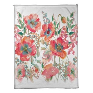 Laural Home Bohemian Poppies Fleece Throw
