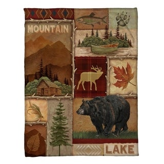 Laural Home Lodge Collage Fleece Throw