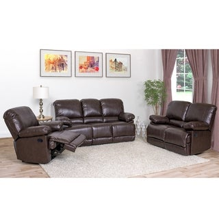 CorLiving Lea 3pc Chocolate Brown Bonded Leather Reclining Sofa Set