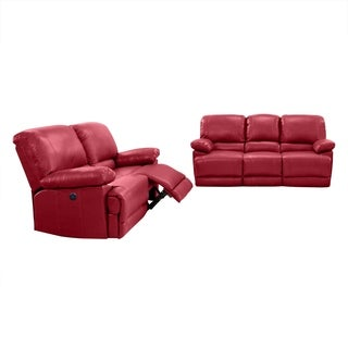 CorLiving Lea Bonded Leather Power Recliner 2-piece Sofa and Chair Set