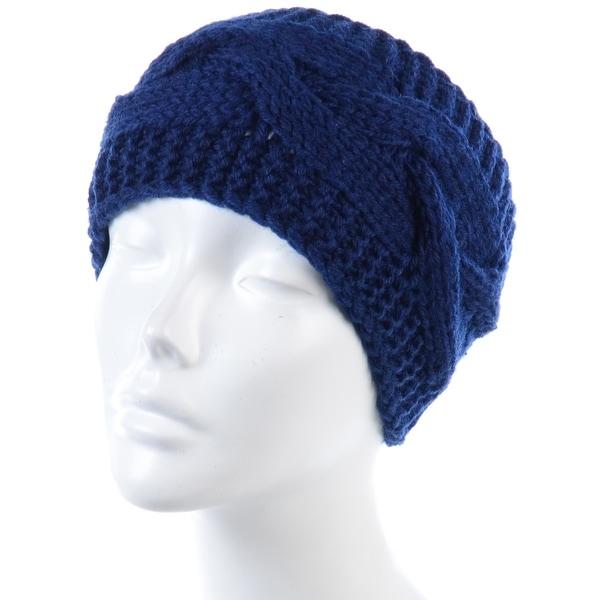 Womens Knit Ear Warmer Crochet Headband Buttons Warm Accessories Blue Navy