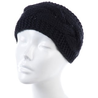 BYOS Womens Fashion Winter Cable Crochet Knit Headband With Adjustable Button