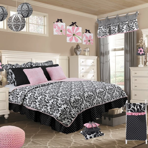 4ddfaab7997 Cotton Tale Girly Black and White Damask Reversible 8 PC Full-Queen Quilt  Bedding Set