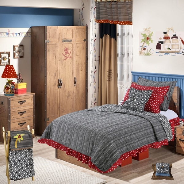 Cotton Tale Pirate's Cove Dots and Stripes Reversible 2 PC Twin Quilt Bedding Set