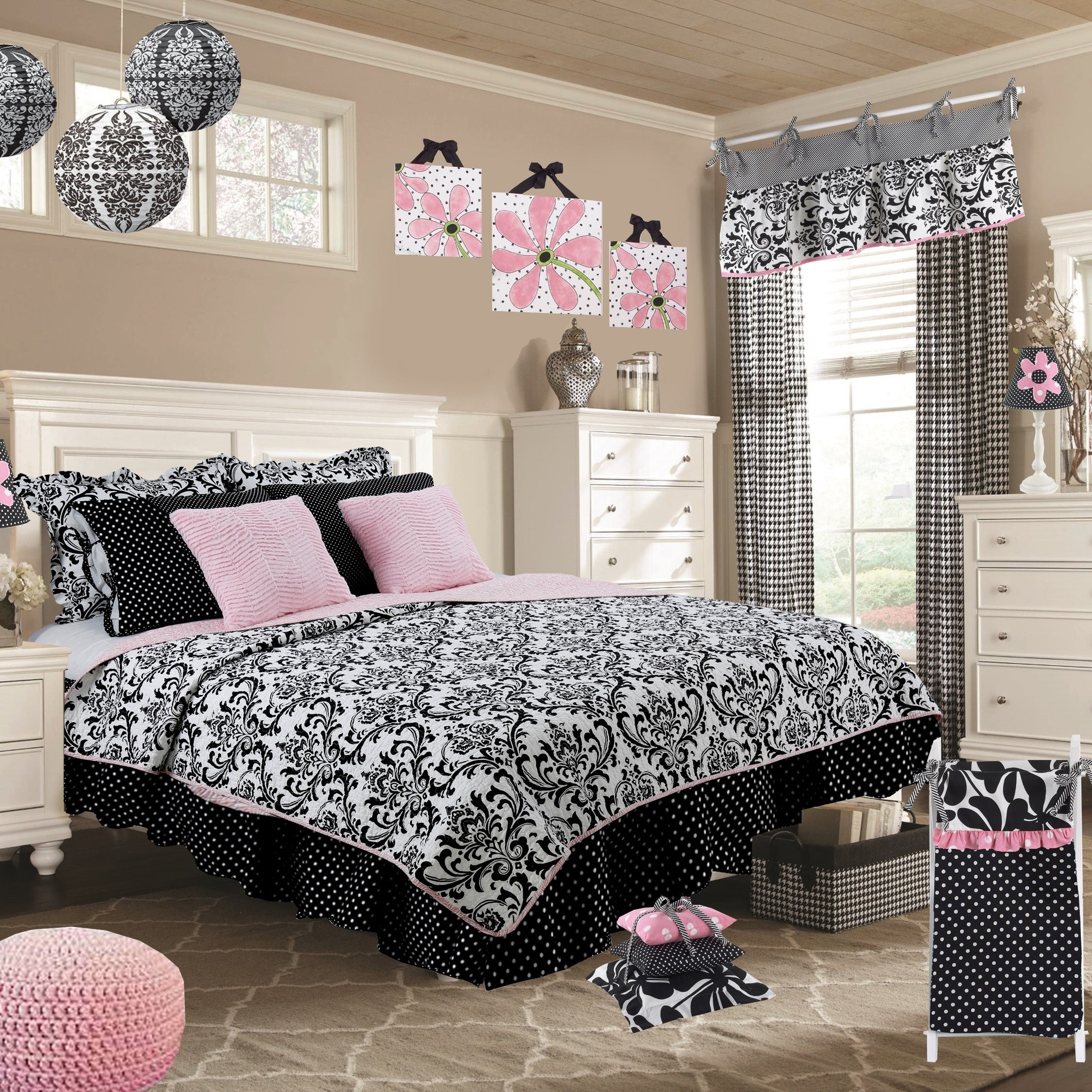 Cotton Tale Girly Black And White Damask Reversible 2 Piece Twin Quilt Bedding Set Overstock 19875541