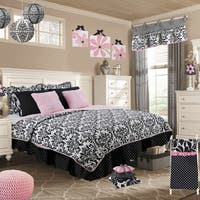 Cotton Tale Girly Black and White Damask Reversible 5-piece Twin Quilt Bedding Set