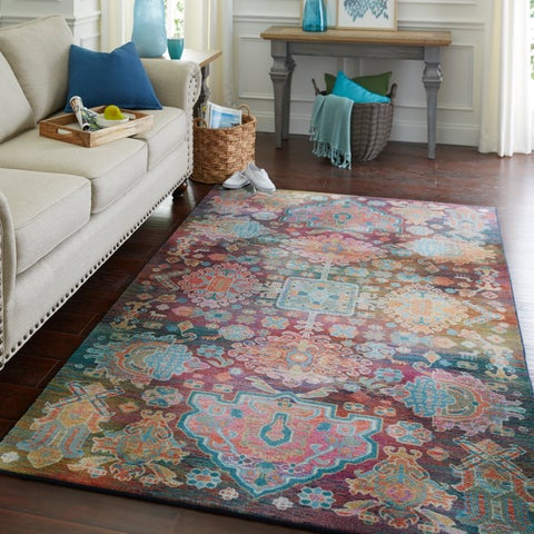 Silver Orchid Hinding Geometric Medallion Area Rug - 8' x 10'