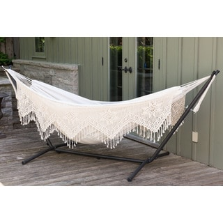 Vivere's Combo - Double Deluxe Natural with Fringe Hammock with Stand - 9ft