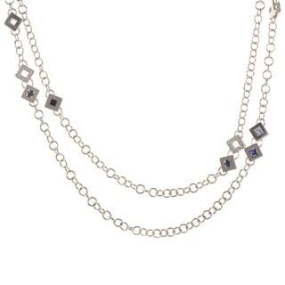 White Gold and Diamonds Multi Stone Necklace