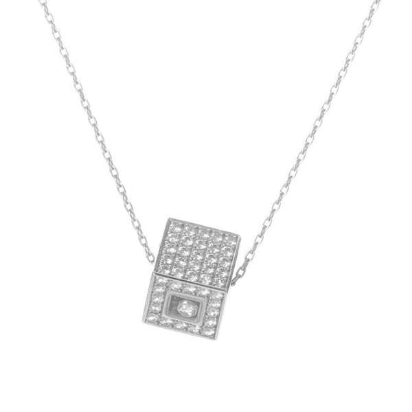 Shop chopard happy diamonds white gold diamond pave cube pendant chopard happy diamonds white gold diamond pave cube pendant necklace aloadofball