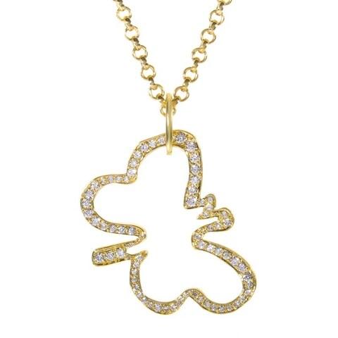Robert Lee Morris Yellow Gold & Diamond Butterfly Pendant Necklace