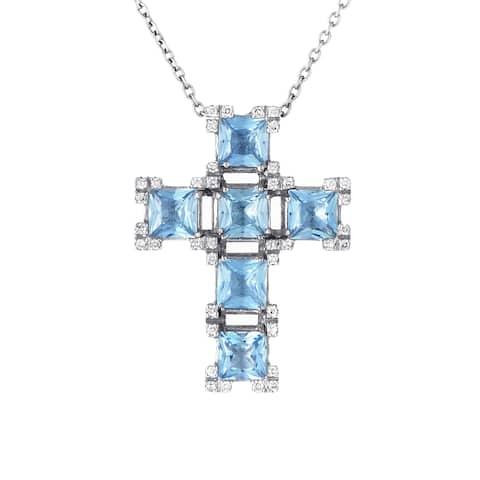 Salvini White Gold Aquamarine and Diamond Crucifix Pendant Necklace