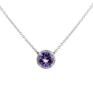 Girls White Gold Diamond & Amethyst Pendant Necklace PPG2064