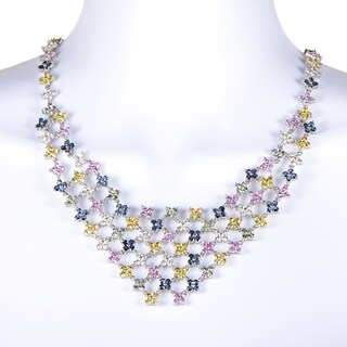 Women's White Gold Diamond & Multi-Sapphire Bib Necklace