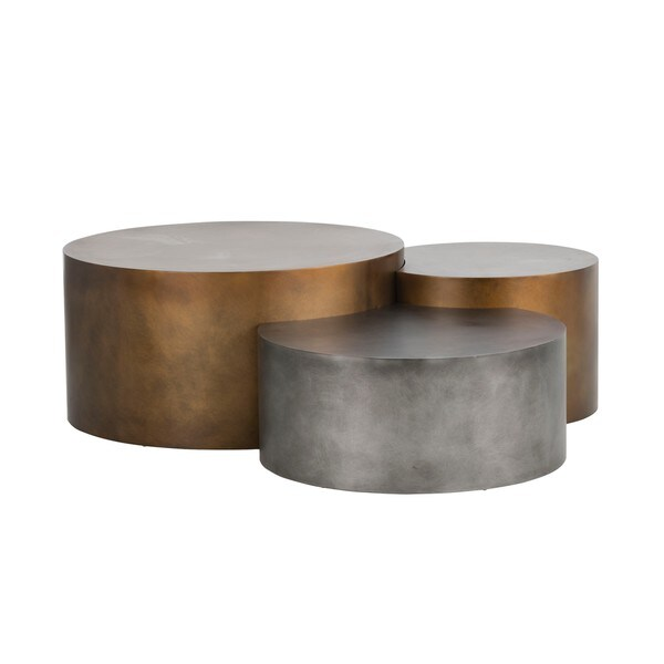 Shop Ikon Neo Brass Round Coffee Tables (Set Of 3)