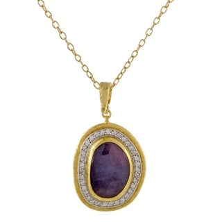 Gurhan Elements 24K/22K Yellow Gold Diamond and Pink Sapphire Pendant Necklace