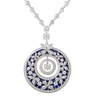 White Gold Diamond and Sapphire Butterfly Pendant Necklace