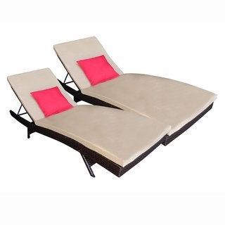 ALEKO Patio Wicker Adjustable Lounge chairs with Cushions Set of 2