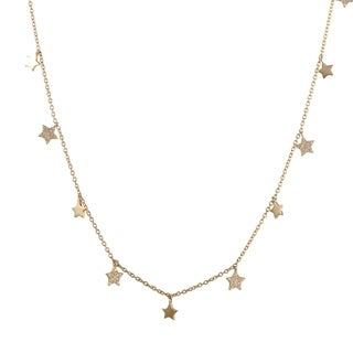 ~.14ct 18K Yellow Gold Diamond Dangling Star Charms Collar Necklace
