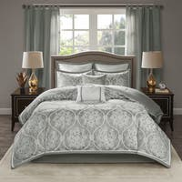 Madison Park Waylon Silver 8-piece Jacquard Comforter Set