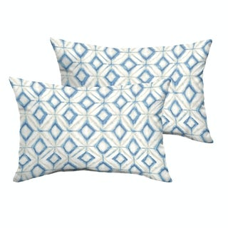 Humble + Haute Blue Diamond Tile Knife Edge Indoor/ Outdoor Pillows, Set of 2