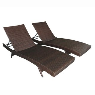 ALEKO Patio Wicker Furniture Set Adjustable Lounge Chairs Set of 2