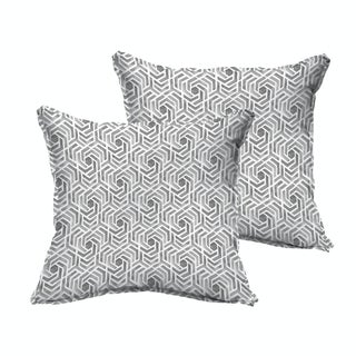 Humble + Haute Grey and White Geometric Flange Indoor/ Outdoor Pillows, Set of 2