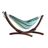Vivere Double Cotton Hammock with Solid Pine Arc Stand - 8ft - FSC Certified