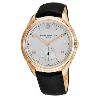 Baume Mercier Men's MOA10060 'Clifton' Silver Dial Brown Leather Strap Rose Gold Swiss Automatic Watch