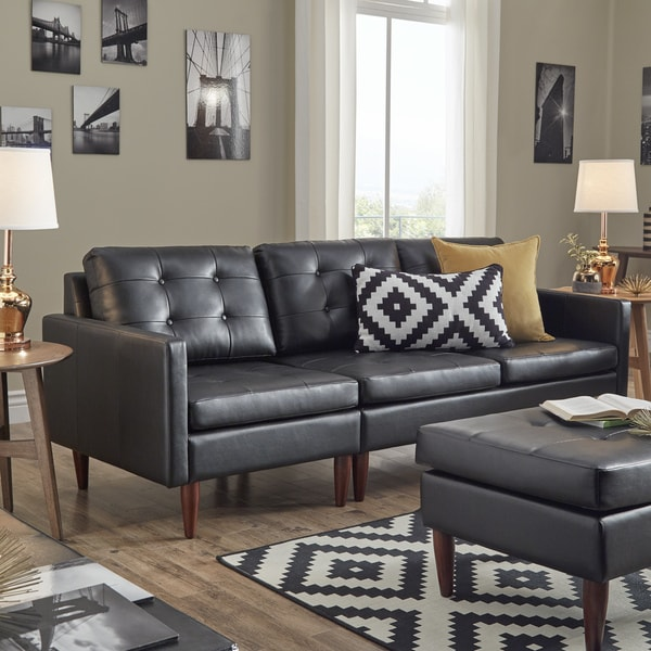 Shawna Black Button Tufted Leather Gel Sofa by iNSPIRE Q Modern