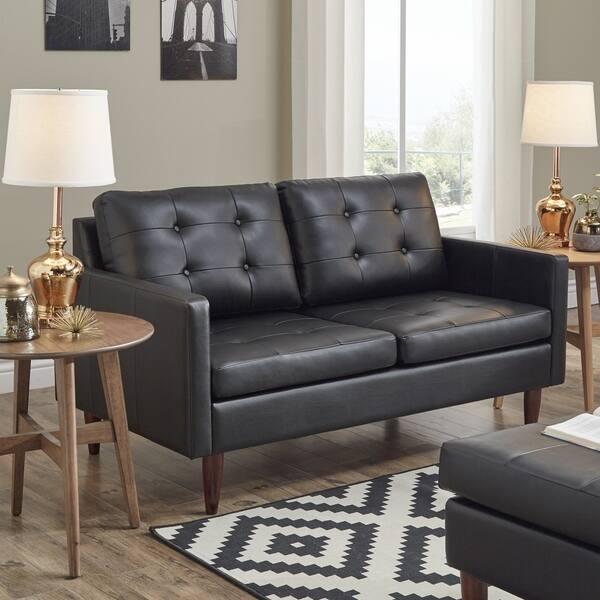 Shop Shawna Black Button Tufted Leather Gel Sofa by iNSPIRE Q Modern ...
