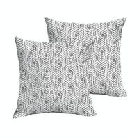 Humble + Haute Grey and White Geometric Knife Edge Indoor/ Outdoor Pillows, Set of 2