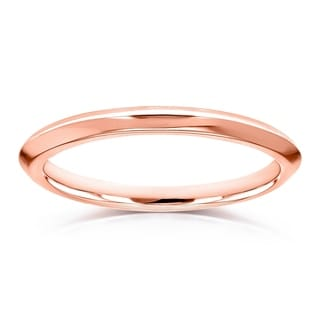 Annello By Kobelli V Edge Solid 14k Gold Ring Wedding Band Multiple Color Options