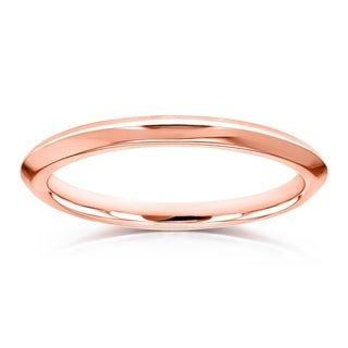 Annello by Kobelli V-Edge Solid 14k Gold Ring Wedding Band - Multiple Color Options
