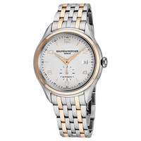 Baume Mercier Men's MOA10130 'Clifton' Silver Dial Stainless Steel/Rose Gold Swiss Automatic Watch