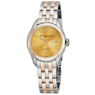 Baume Mercier Women's MO 'Clifton' Goldtone Dial Stainless Steel/18K Rose Gold Swiss Automatic Watch