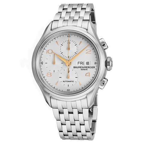 Baume Mercier Men's MO 'Clifton' Silver Dial Stainless Steel Chronograph Swiss Automatic Watch