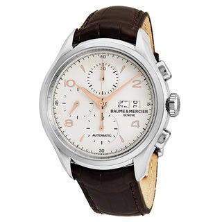 Baume Mercier Men's MOA10129 'Clifton' Silver Dial Brown Leather Strap Chronograph Swiss Automatic Watch