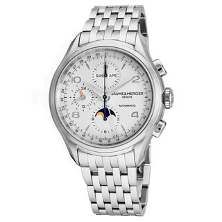Baume Mercier Men's MOA10328 'Clifton' Silver Dial Stainless Steel Chronograph Multifunction Swiss Automatic Watch
