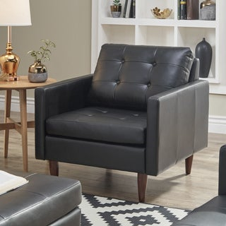 Shawna Black Button Tufted Leather Gel Accent Chair by iNSPIRE Q Modern