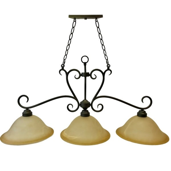 "3-Light Classic Hanging Island Pendant | 44"" Curved Brown Metal Base with Chain and 12"" Bronze Glass Shades"