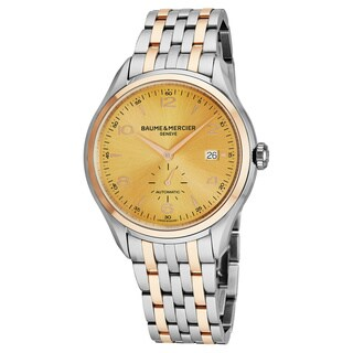 Baume Mercier Men's MOA10352 'Clifton' Goldtone Dial Stainless Steel/18K Rose Gold Swiss Automatic Watch
