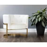 Club Karissa Leather Button Tufted Chair