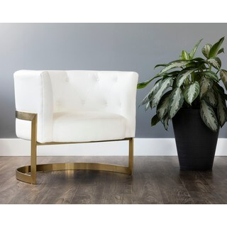 Club Karissa Leather Button Tufted Chair