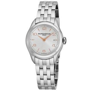 Baume Mercier Women's MOA10175 'Clifton' Silver Dial Stainless Steel Swiss Quartz Watch
