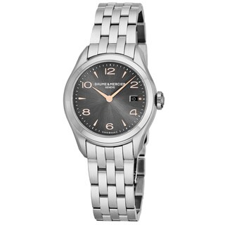 Baume Mercier Women's MOA10209 'Clifton' Charcoal Dial Stainless Steel Swiss Quartz Watch