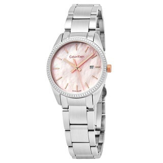 Calvin Klein Women's K5R33B4H 'Alliance' Pink Mother of Pearl Dial Stainless Steel Swiss Quartz Watch