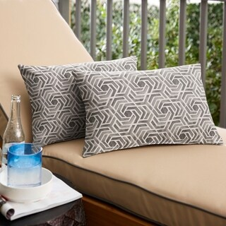 Sunbrella Grey and White Geometric Indoor/ Outdoor Pillows, Set of 2