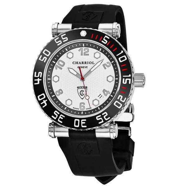 Charriol Men's RT42DIVB.142.D02 'Rotonde' Silver Dial Black Rubber Strap GMT Swiss Quartz Watch