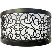 "3-Light Bronze Flush Mount Ceiling Light - 15"" Curved Decor Metal Exterior Frame and 14"" Interior Off-White Linen Shade"